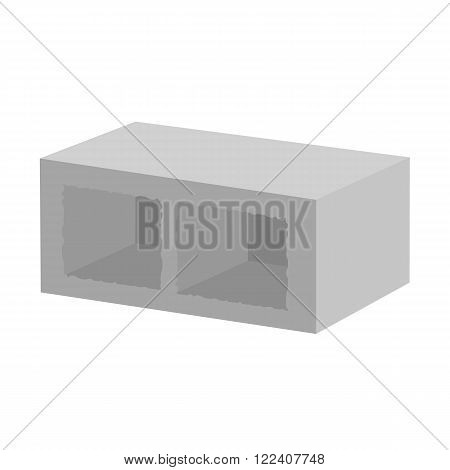 Vector illustration concrete building block for architectural works. Building block vector illustration. Concrete block on the white background. Cement block flat vector