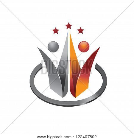 abstract 3d leadership people social community logo