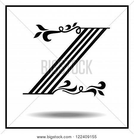 Z. Letter Z with leaves. Vector illustration