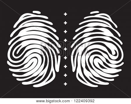Fingerprint security concept. White vector fingerprint on black.