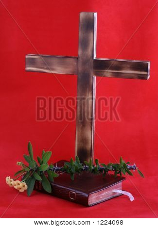 Cross And Bible On Red