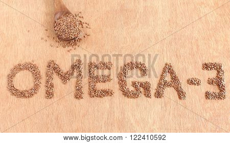 Omega-3 fatty acids in flax seed concept.