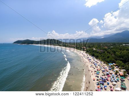 Aerial View of Barra do Una Beach, Brazil