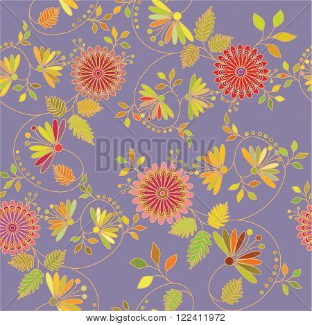 Vector pattern colorful flowers in the Oriental style. Interweaving of branches and leaves.