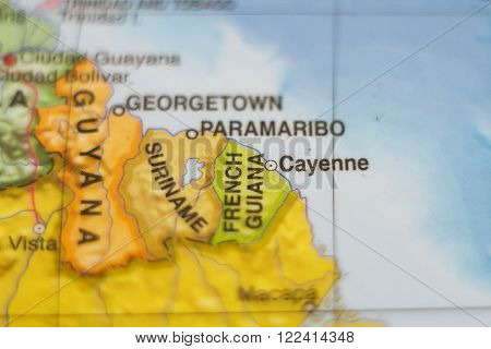 Beautiful photo of a map of French Guiana and the capital Cayenne .