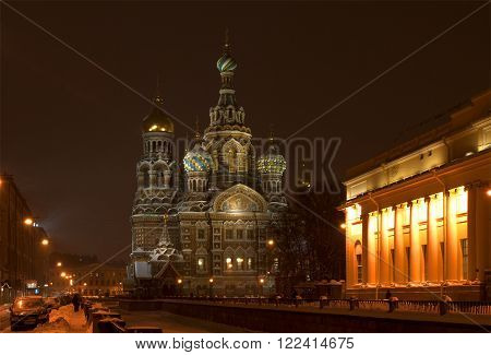 ST. PETERSBURG, RUSSIA - DECEMBER 19, 2010: The Cathedral of Resurrection (Savior on Blood) winter night. The historic landmark of the city of Saint Petersburg