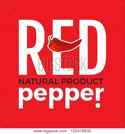 White logo with word Red pepper natural product , design elements chili pepper at a red background. Design template for restaurant, cafe and canteens. Vector Illustration