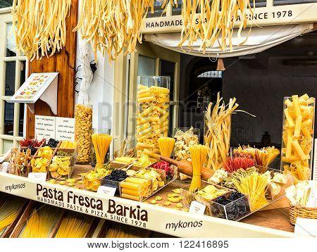 MYKONOS, GREECE-OCTOBER 03, 2015: Homemade Pasta Shop in Mykonos, Greece