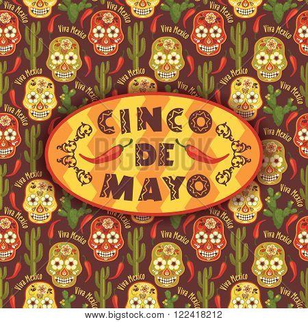 Cinco de Mayo. Vector illustration with traditional Mexican symbols.