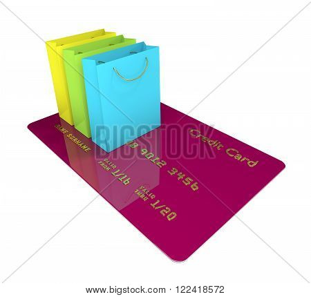 credit card with shopping bags isolated on white background