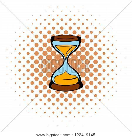 Hourglass icon in comics style on a white background