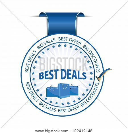 Best Deals , Big Sales, Big Discounts - blue label with shopping bags, also for print.