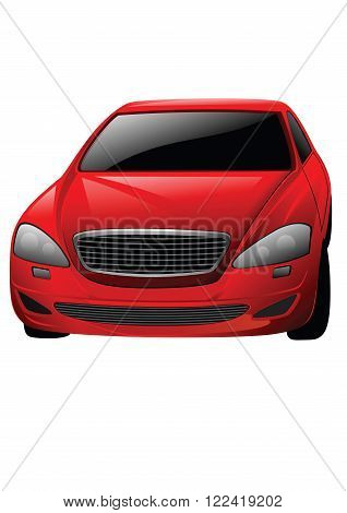 Vector red car isolated on the white background