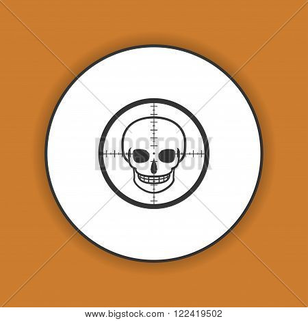 Illustration of a crosshair icon with a skull