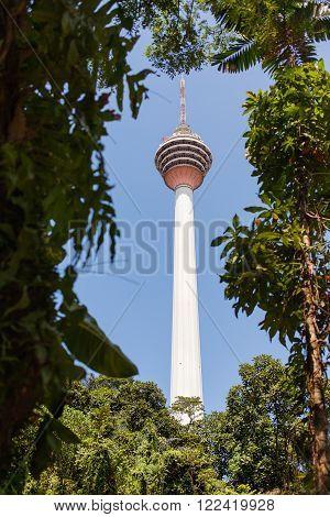 The Kuala Lumpur Tower (Menara Kuala Lumpur). View from green leaves. Kuala Lumpur Malaysia.