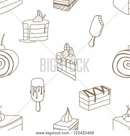 Collection of desserts. Sketches of desserts hand-drawn. Seamless patten. Vector illustration.