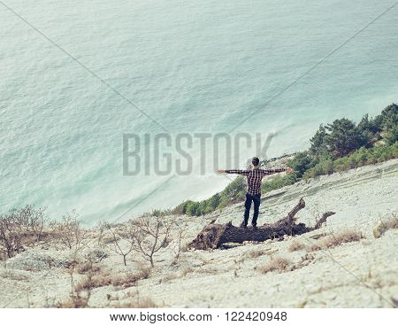 Happy young man standing with raised arms on snag on coast and enjoying view of sea, rear view