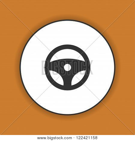 icon steering wheel. Flat design style eps 10