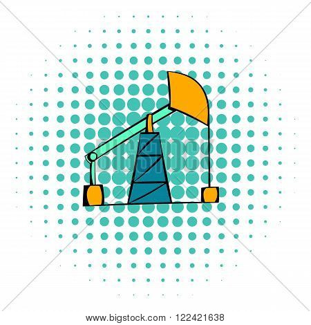Oil pump icon in comics style on a white background