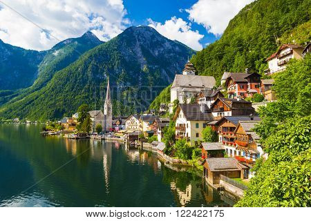 Pictoresque Hallstatt town in summer Alps Austria