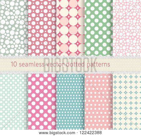 Polka dot vector seamless patterns collection. Dotted shabby chick backgrounds in retro style.