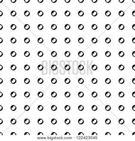 Retro style monochrome seamless vector pattern with polka dots for fabric, cards, invitations, wrapping paper, stationery and web backgrounds. Black and white whimsical vintage ornament with circles.