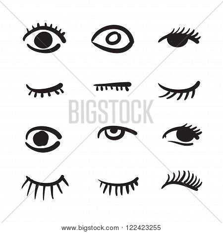 Hand Drawn Eyes Set Vector Illustration Black And White.