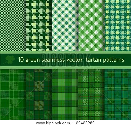 Green tartan plaid pattern seamless collection. Vector illustration