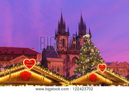 Xmass markets in Prague Oldtown Square Czech Republic illuminated