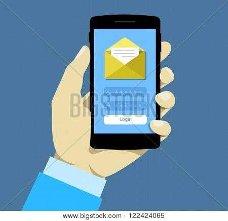 Login page on smartphone screen. Hand hold smartphone. Mobile account. Concept for web banners, web sites, infographics