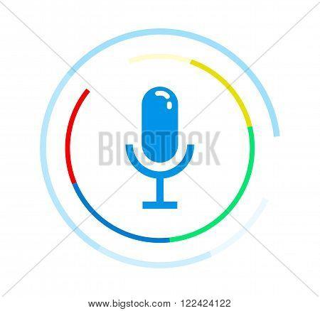 Microphone vector icon. Voice control application logo concept