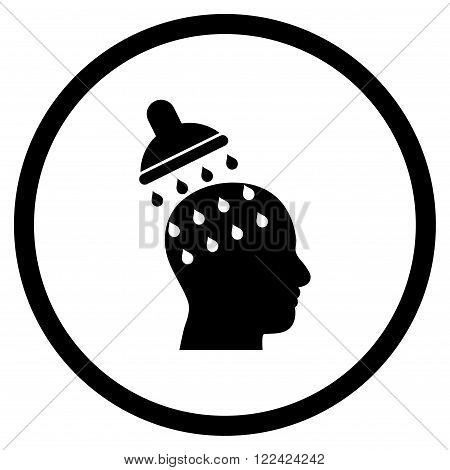Brain Washing vector icon. Picture style is flat brain washing rounded icon drawn with black color on a white background.