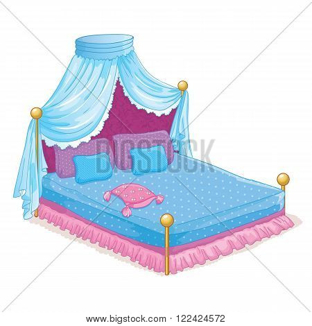 Vector illustration of beautiful princess bed with canopy