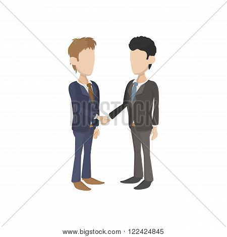 Two businessmen shaking hands icon in cartoon style on a white background