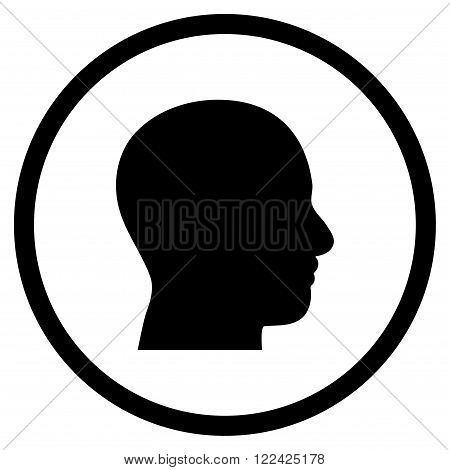 Head Profile vector icon. Picture style is flat head profile rounded icon drawn with black color on a white background.