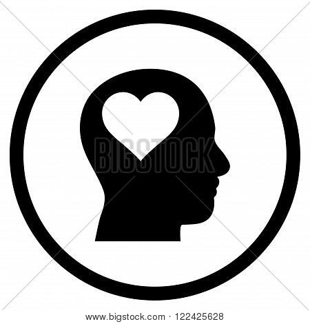 Lover Head vector icon. Picture style is flat lover head rounded icon drawn with black color on a white background.