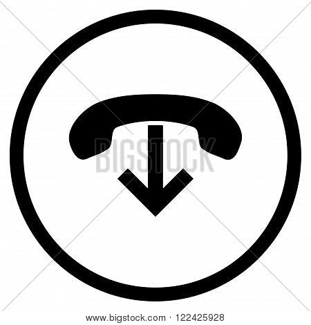 Phone Hang Up vector icon. Picture style is flat phone hang up rounded icon drawn with black color on a white background.