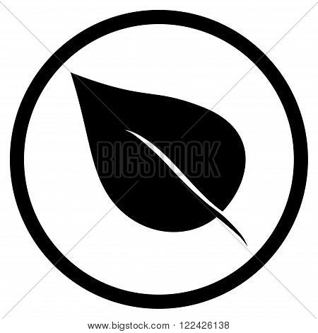 Plant Leaf vector icon. Picture style is flat plant leaf rounded icon drawn with black color on a white background.