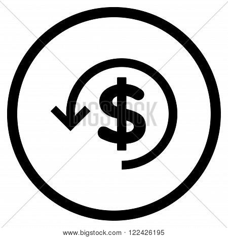 Rebate vector icon. Picture style is flat refund rounded icon drawn with black color on a white background.