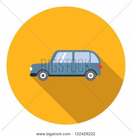 Blue mini van icon in flat style in yellow circle with shadow. Side view