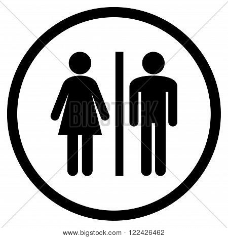 Restroom Persons vector icon. Picture style is flat WC persons rounded icon drawn with black color on a white background.