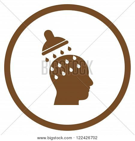 Brain Washing vector icon. Picture style is flat brain washing rounded icon drawn with brown color on a white background.