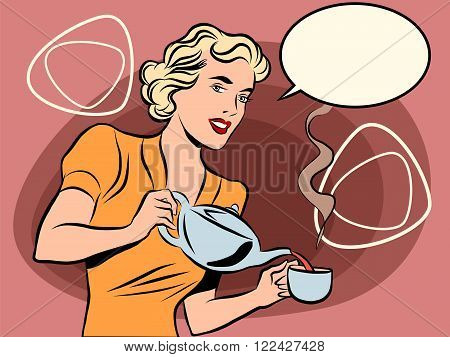 The waitress pours tea pop art line art comic retro. Retro waiter. Restaurant hot drink. retro colors