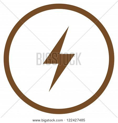 Electricity vector icon. Picture style is flat electricity rounded icon drawn with brown color on a white background.