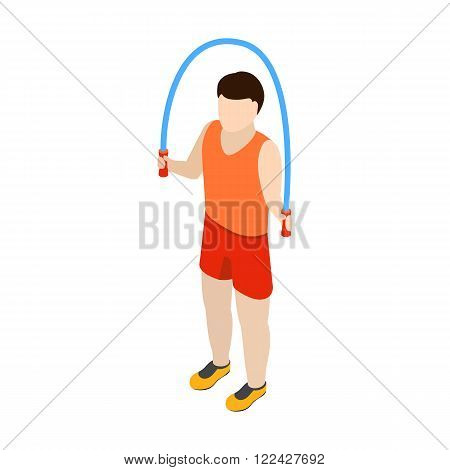 Man jumping with skipping rope iicon n isometric 3d style isolated on white background