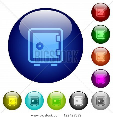 Set of color strong box glass web buttons.