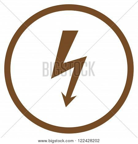 High Voltage vector icon. Picture style is flat high voltage rounded icon drawn with brown color on a white background.