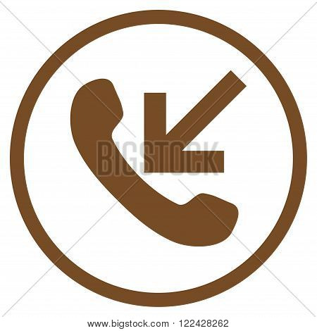 Incoming Call vector icon. Picture style is flat incoming call rounded icon drawn with brown color on a white background.