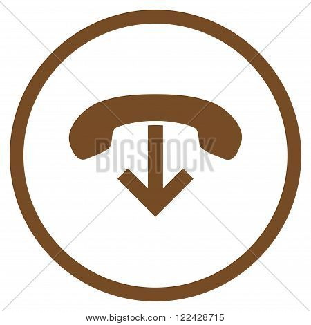 Telephone Hang Up vector icon. Picture style is flat phone hang up rounded icon drawn with brown color on a white background.