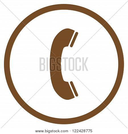 Phone Receiver vector icon. Picture style is flat phone receiver rounded icon drawn with brown color on a white background.